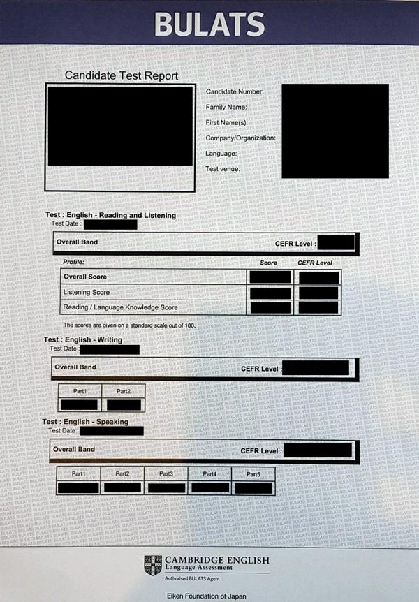 STEP BULATS試験のスコアレポート